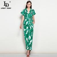 Alta Calidad Nuevo 2017 Runway Suit Set mujeres de Moda elegante Dos pieza Tops + hojas de Plátano Verde Casual Larga Pantalones Set Suit
