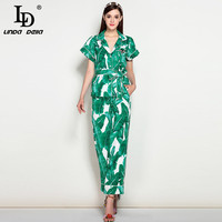 High Quality New 2017 Fashion Runway Suit Set Women S Elegant Two Piece Tops Green Banana