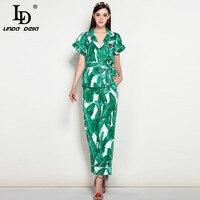 High Quality New 2017 Fashion Runway Suit Set Women S Elegant Two Piece Tops Green Banana