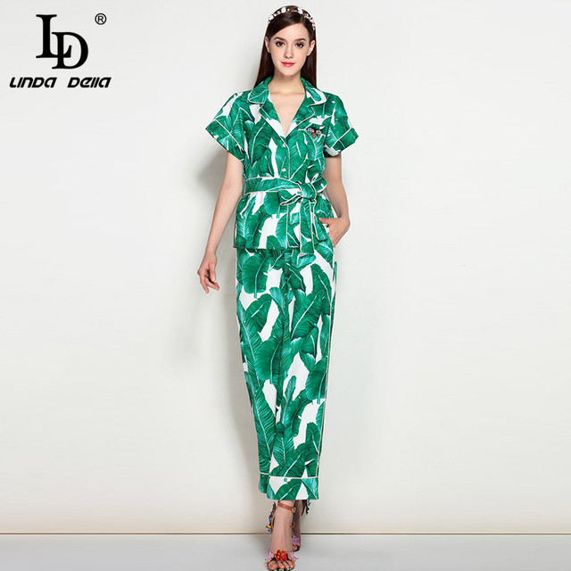 High Quality New 2017 Fashion Runway Suit Set Women's elegant Two piece Tops + Green Banana leaves Casual Long Pants Set Suit
