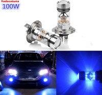 Çifti Ultra Mavi H7 20*5 W Cree Cips 100 W LED Far Için ampuller Sürüş Sis Işık/Gündüz Çalışan Işık DRL (H11 9005 9006)
