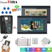 SmartYIBA Wifi Video Intercom 2*7 Inch LCD Wifi Wireless Video Doorbell Phone Camera Monitor System With Door Lock Power Supply