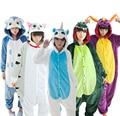 2016 New Dinosaur Stitch Winter Pajamas For Women/Men Warm Flannel Adult Homewear Winter Loungewear Sleep Couple Animal Pyjamas