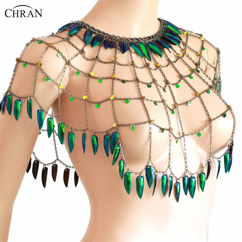 Chran Real Beetle Wing Body Chain Sexy Mesh Black Shoulder Chain Jewelry Carnival Festival Wear in Body Jewelry from Jewelry Accessories