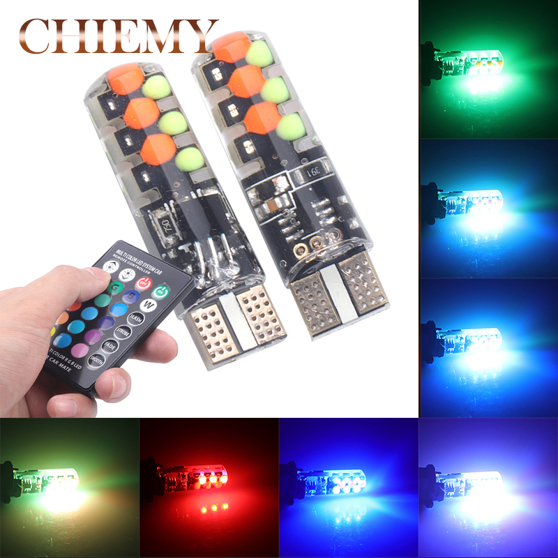 2 Pieces T10 W5W LED Car Lights LED Bulbs RGB With Remote Control 194 168 501 Strobe Led Lamp Reading Lights White Red Amber 12V ...