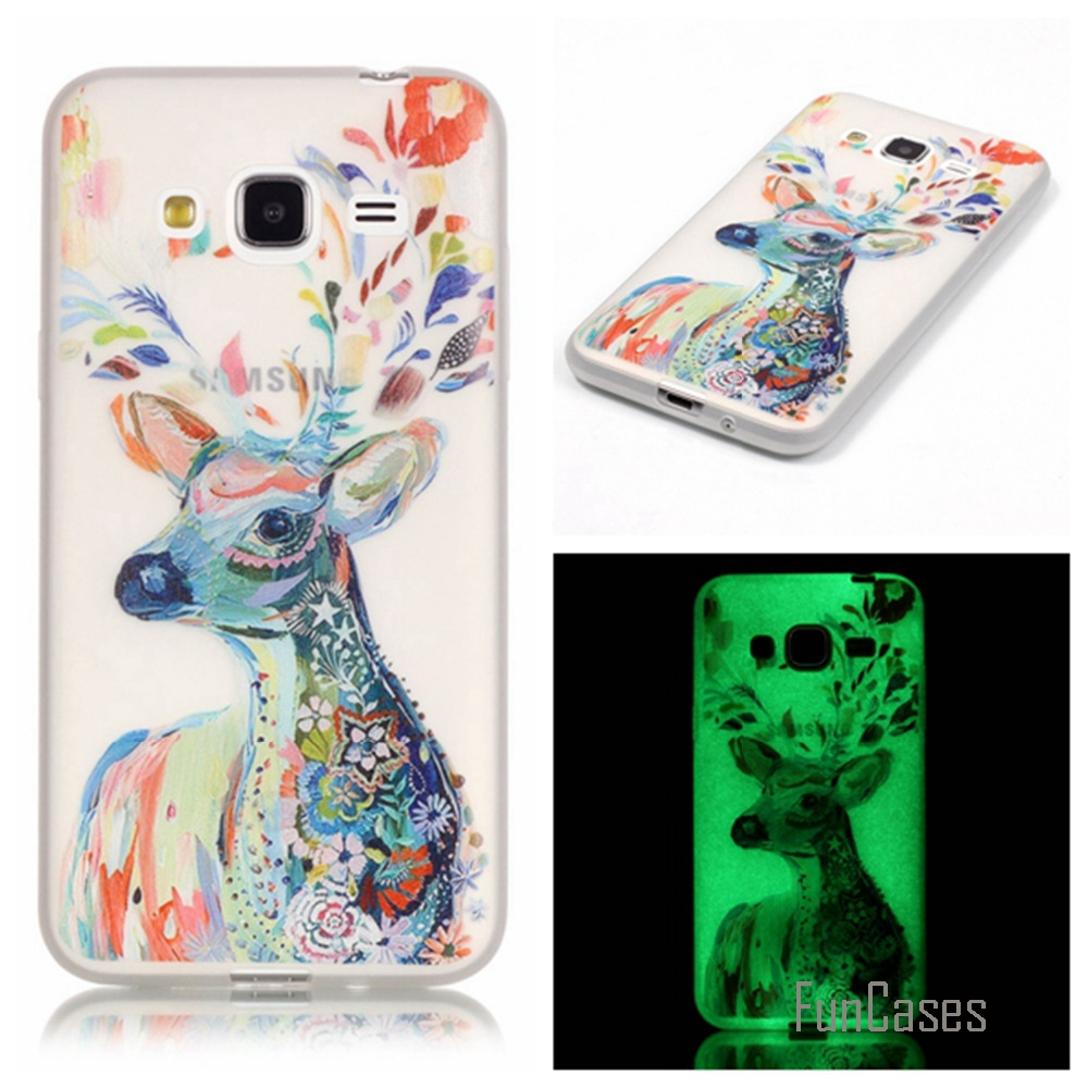 New Fashion Luminous night Slim phone Cases for Samsung Galaxy J3 2016 J310 J310F Fluorescence Soft TPU Silicon back cover skin
