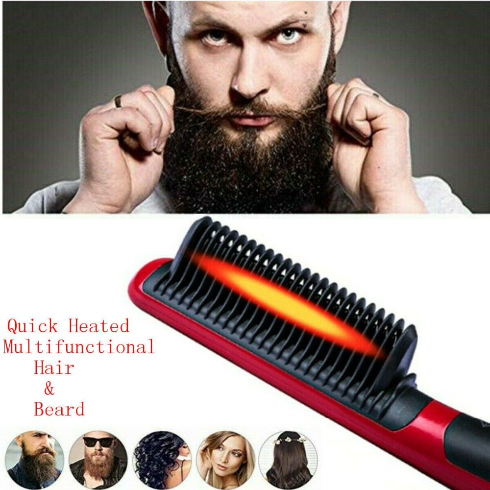 Multifunctional Beard Straightener Brush Quick Heated Hair Comb Curling Show CapMultifunctional Beard Straightener Brush Quick Heated Hair Comb Curling Show Cap