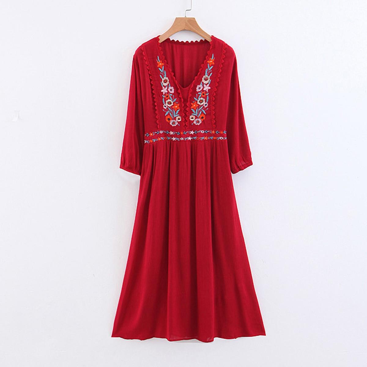f77dc1e148 Embroidery Floral Midi Dress Vintage V-neck Loose Dresses Women Summer Dresses  Boho Chic Beach