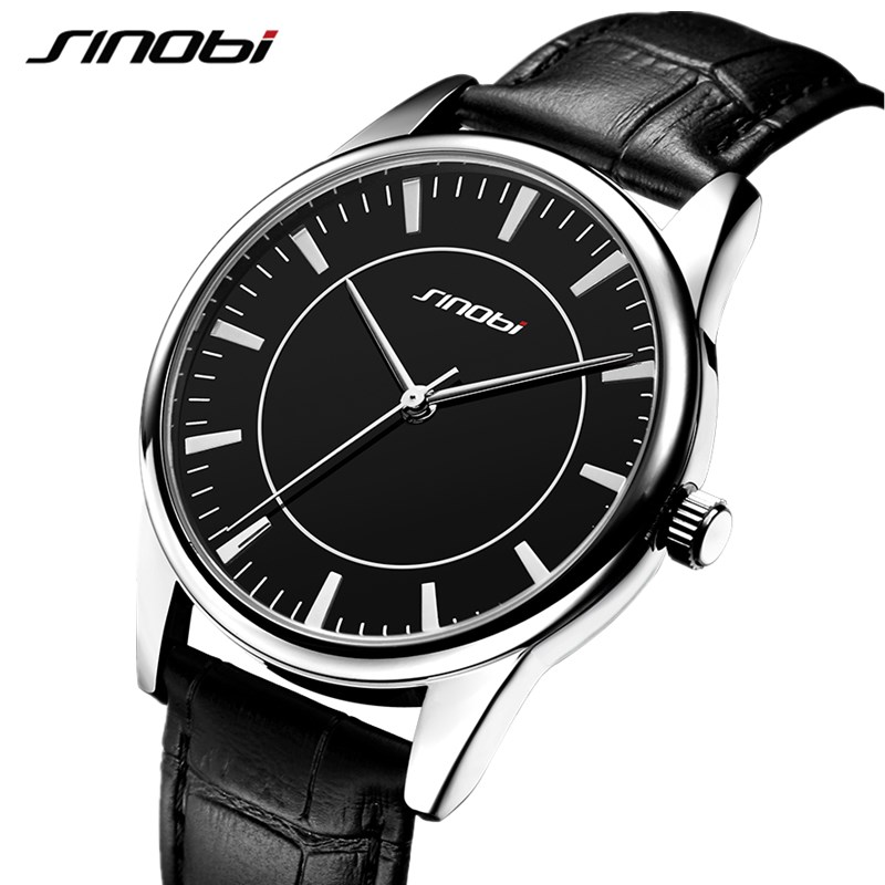 SINOBI New Classic Quartz Watch Men Leather Strap Relogio Masculino Women Lover's Watches Fashion Luxury Couple Waterproof Clock