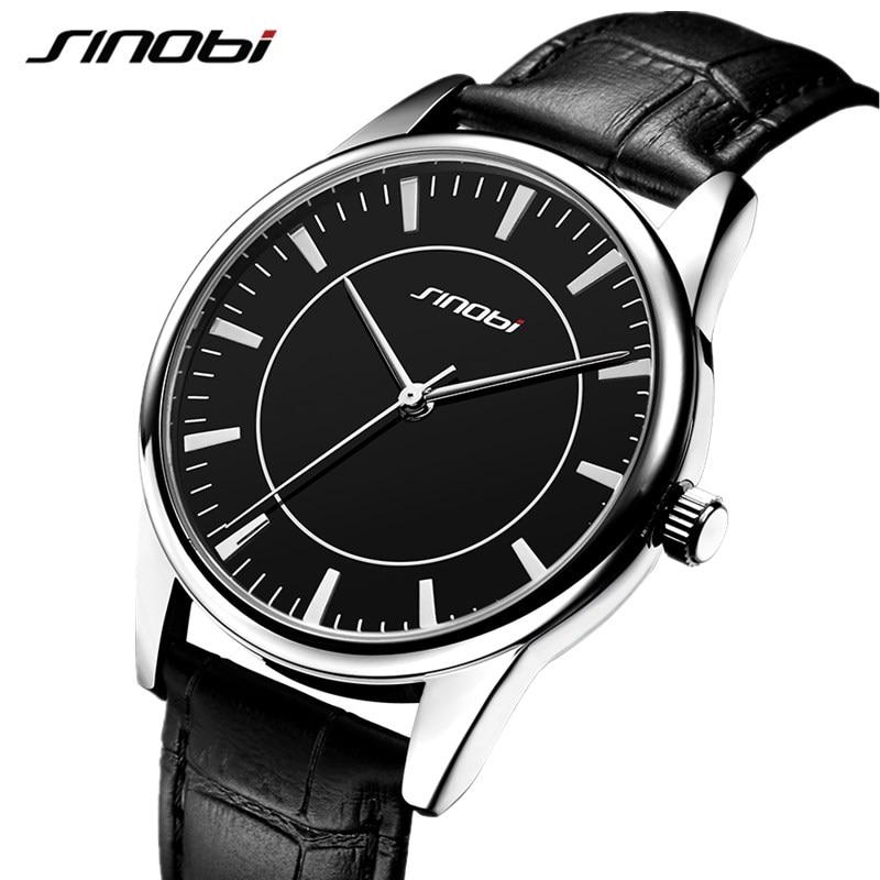 SINOBI New Classic Quartz Watch Men Leather Strap Relogio Masculino Women Lover's Watches Fashion Luxury Couple Waterproof Clock