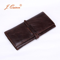 J Quinn Brand Female Male Clutch Wallets Genuine Leather 11 Cards Unisex Long Retro Mens Womens