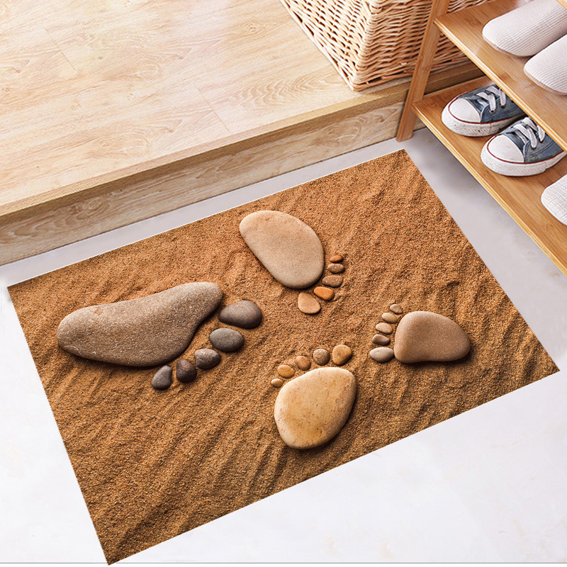 3D Ocean Sand Beach Stone Foot Print Wall Stickers Bathroom Living Room Floor Wall Applique Nursery Kids Room Wallpaper Posters