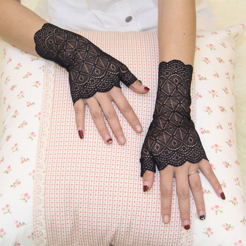 Female Charming Sunscreen Fingerless Gloves Driving Anti-uv Lace Party Gloves