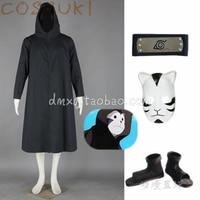 Free Shipping! Newest! Stock! Naruto Kakashi Robe Anbu Black Cloak Full Set Cosplay Costume Suits ,Perfect Custom For you!