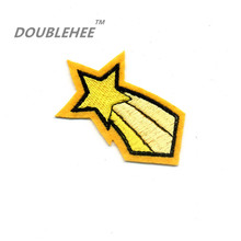 DOUBLEHEE 7cm*4.4cm Embroidered Iron On Patches Yellow Star Design Motif T-shirt Bags Applique Accessories Cartoon Style Child