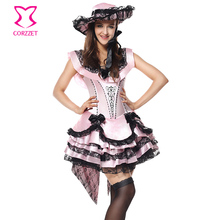 Deluxe Victorian Gothic Pink Fancy Dress Cosplay Princess Belle Sexy Costumes For Adults Halloween Beauty And The Beast Costume