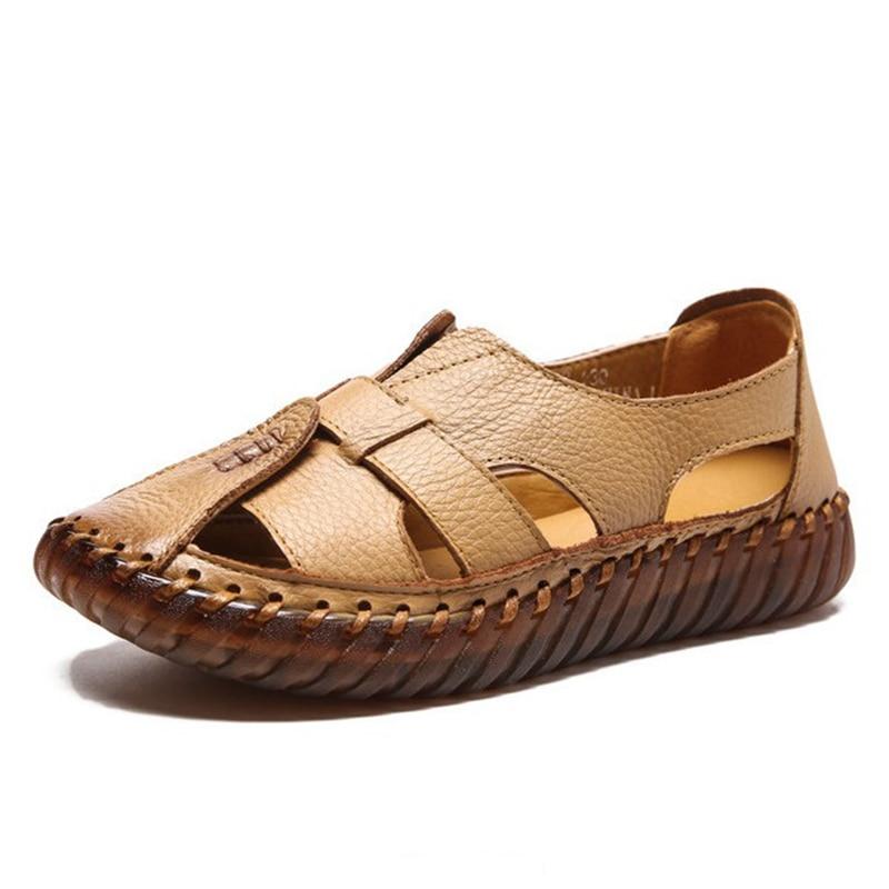 Ausdrucksvoll Ylqp Frauen Sandalen 2018 Sommer Neue Echtes Leder Handgemachte Damen Schuh Leder Sandalen Frauen Wohnungen Retro Stil Mutter Schuhe