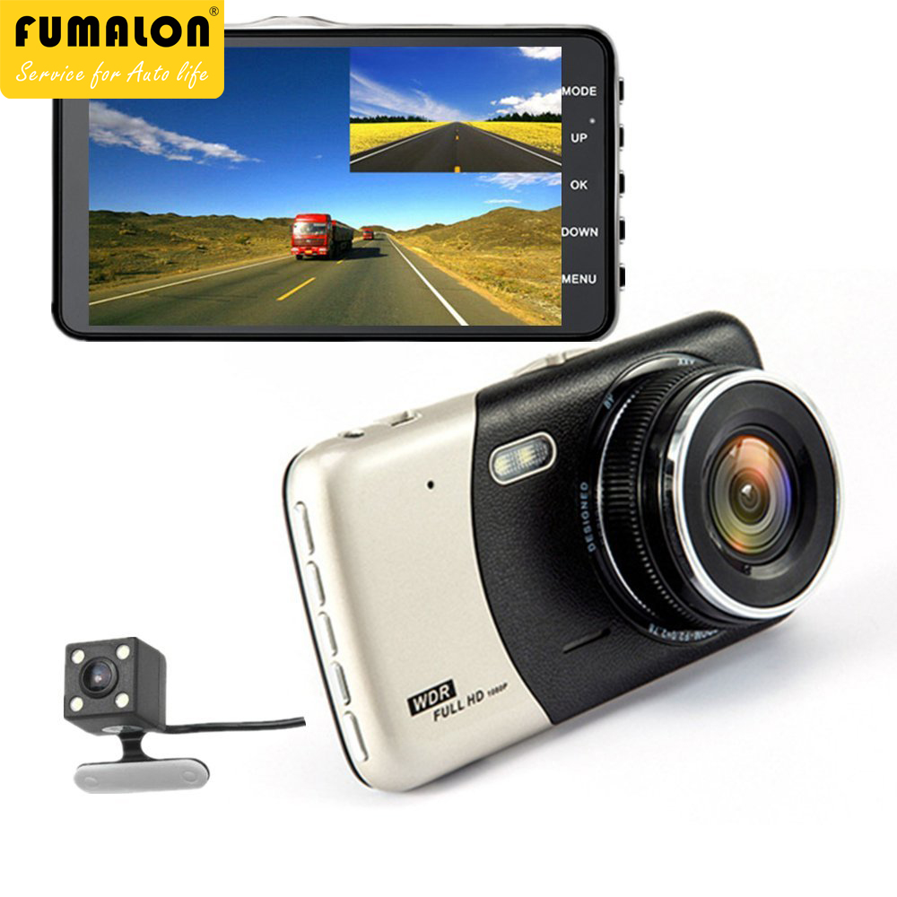 Car Camera front and rear 4.0 inch DVR Dual Lens Video Recorder Full HD 1080P WDR Dash Cam Night Vision back G-Sensor Registrat bigbigroad for peugeot 3008 app control car wifi dvr dual camera video recorder night vision car black box wdr car dash camera