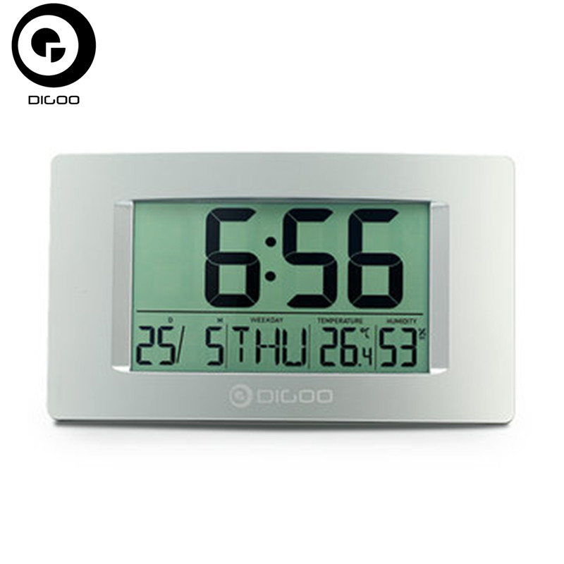 Digoo DG-GC1 8.7 InchDigital LCD Thermometer Hygrometer Desk Alarm Clock Calendar Clear Digital Display clear lcd screen digital thermometer white