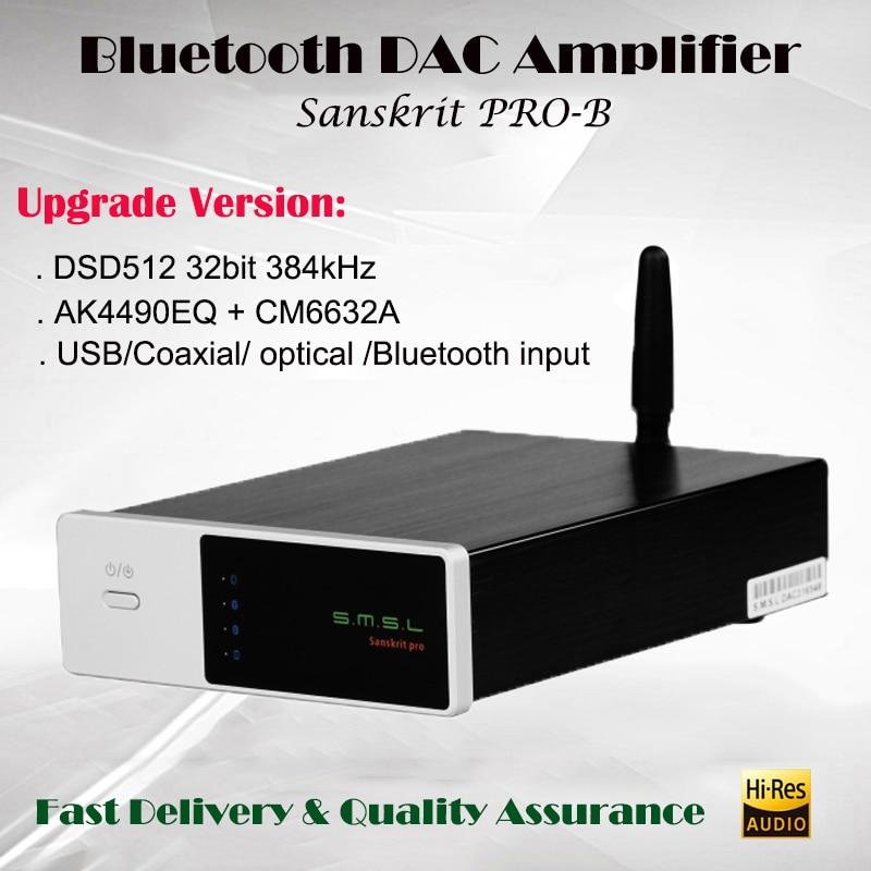 SMSL Sanskrit Pro-B Decodificador DSD USB DAC Amp AK4490EQ Bluetooth 4.0 HIFI Portable Decoder Amplifier Audio Mini Amplificador smsl sanskrit pro 32bit 384khz dsd no bluetooth 4 0 usb coaxial optial dac asynchronous professional decoder dsd hard solution