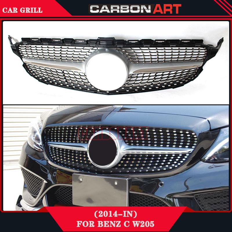 New C Class W205 Diamond Grille ABS Material For Mercedes C180 C200 C250 C350 C400 C450 C220 Sporty 2015 2016 Front Grill yandex w205 amg style carbon fiber rear spoiler for benz w205 c200 c250 c300 c350 4door 2015 2016 2017