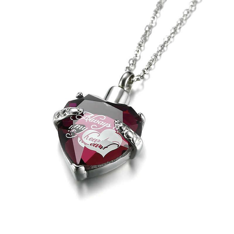 """Coração de vidro urna cremação cinzas pingente colares feminino memorial lembrança jóias """"você sempre em meu coração"""""""