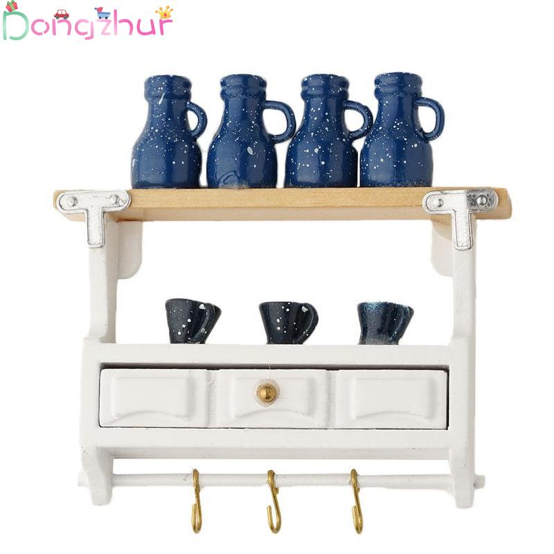 Dollhouse Accessories Mini Wall Mounted Rack Drawer Miniatures 1:12 Toy Diy Doll House Miniature Furniture Kit