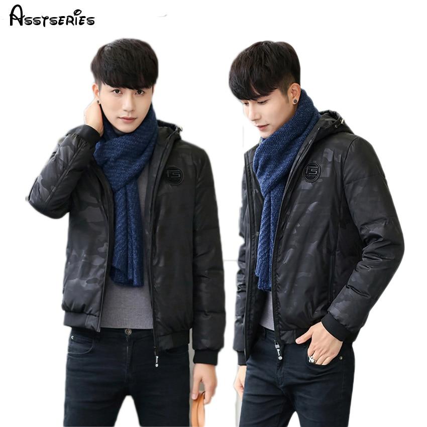 2018 Men Winter Down Coat White Duck Down Jacket Ultra Light Plus Size Winter Brand Down Jackets Men Hooded Outerwear Coat h135