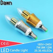Golden Silver Aluminum LED Bulb E14 220V Candle Lamp Light 7W 9W 12W For Crystal Chandelier Antique Retro Velas Lampara Ampoule