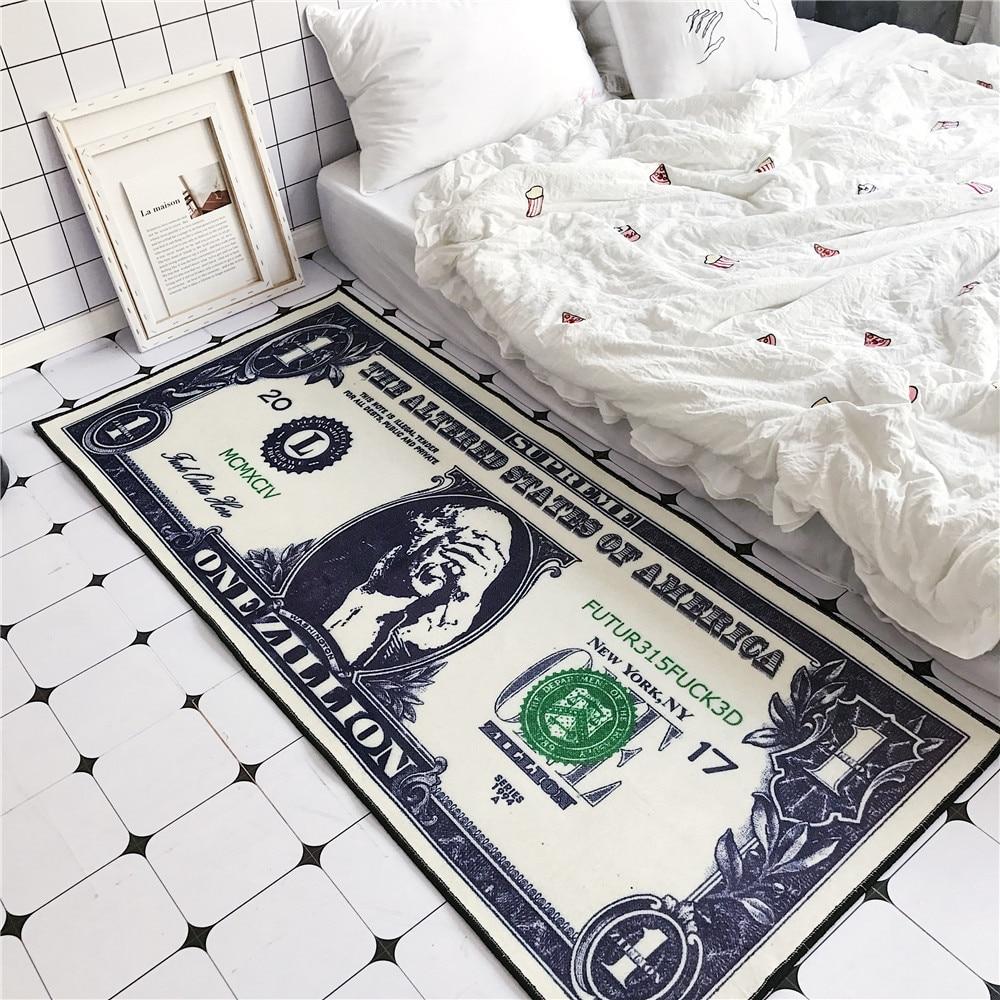 Kreative dollar muster boden matte Flanell HD gedruckt Schlafzimmer anti slip teppich wohnzimmer dekoration tür matte nacht Streifen teppich