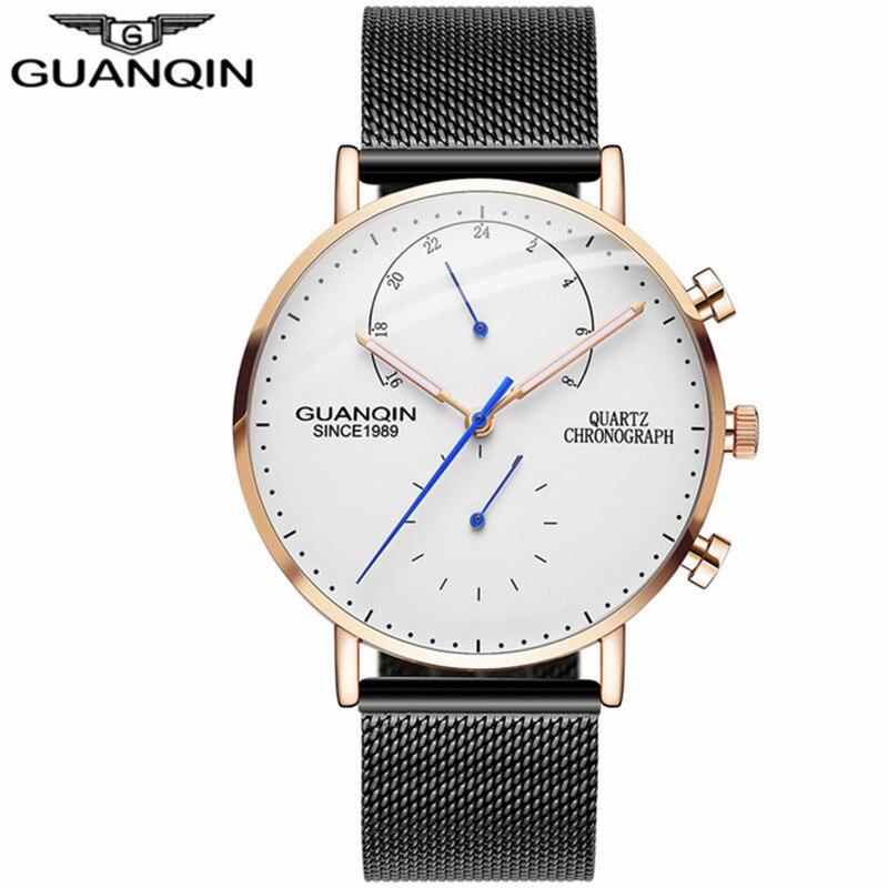Luxury Brand GUANQIN Watches Men Chronograph Quartz Watch Waterproof Luminous Mens Sapphire Wrist Watch relogio masculino seiko watch premier series sapphire chronograph quartz men s watch snde23p1