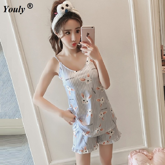 Cute sexy pajamas 2 pieces sets 2019 summer women Shorts V-Neck Sleepwear  printed tank top lining bra cotton Pajama Set homewear ed3b73c39
