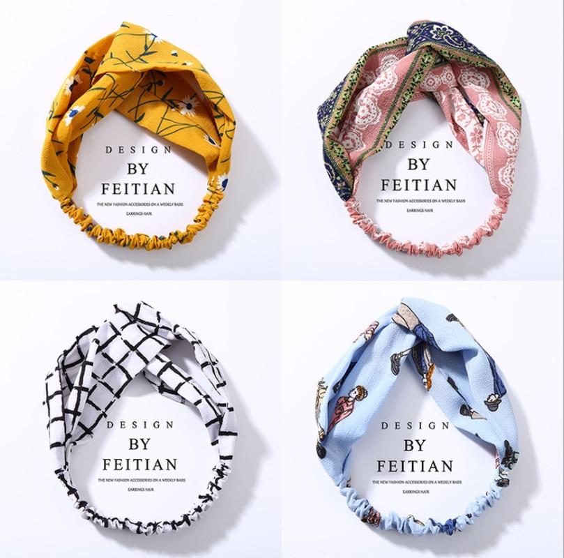 Women's Fashion Spring Summer Chiffon Headbands Cartoon Wide Bands Turban   Headwear   Headwrap Hair Accessories