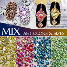 AB colors Mix Sizes SS3 SS4 SS5 SS6 SS10 SS12 SS16 about 500Pcs Nail Art Rhinestone crystal strass Non HotFix glitter DIY stone
