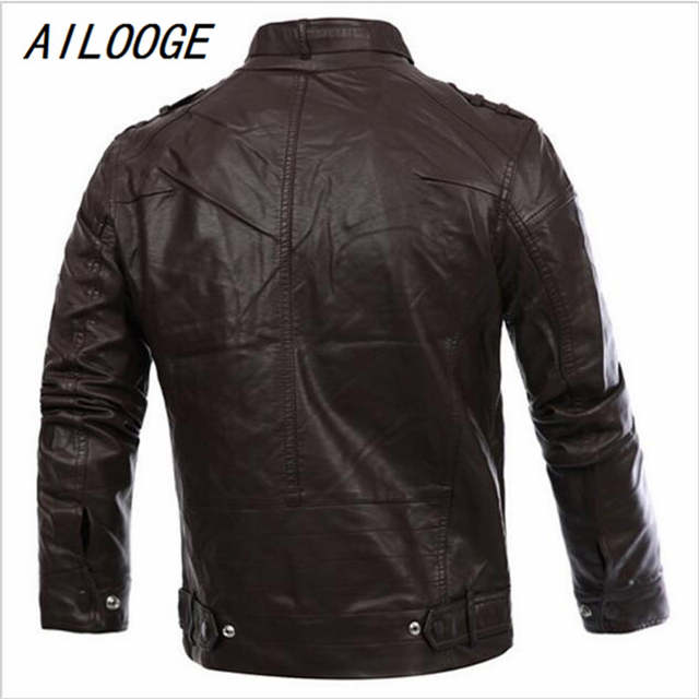 f15df5a31 AILOOGE Russian Style Fashion Mens Zipper Leather Jacket For Men New Slim  Fit Motorcycle Avirex Leather Jackets Male Designer