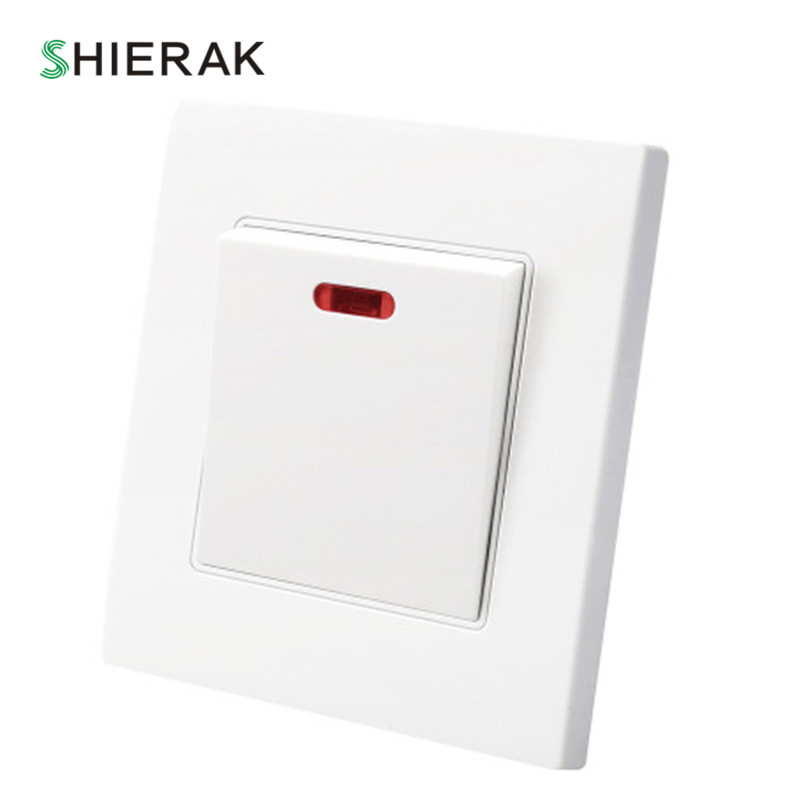 цена на SHIERAK Water Heater Switch High Power 20A Electrical Wall Switch With LED Indicator For Bathroom 86*90mm