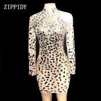 Блестящие зеркала перспектива Сетчатое платье для женщин день рождения, празднование Прозрачное платье пикантные узкие костюм для танцев