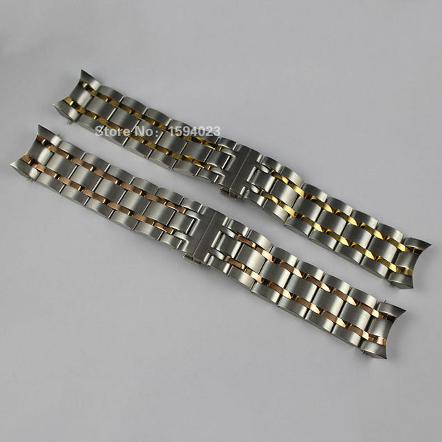 US $32 0 |23mm T035617A T035439 New Watch Parts Male Solid Stainless steel  Gold plating bracelet strap Rose gold plated WatchBands-in Watchbands from