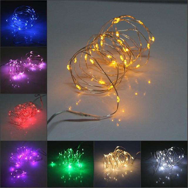 New 10 3m30leds Holiday Christmas Lights Outdoor Yellow Green 3aa Battery Led Copper