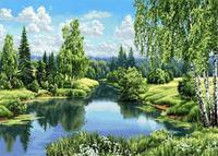 Canvas Rhinestone Diamond Mosaic Room Decor Green Trees River Picture 5ddiy Diamond Painting Mosaic Cross Stitch