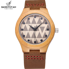 Bamboo Wood Watch Women Shock Resistant Quartz Genuine Leather Strap Wooden Wrist Watches Ladies reloje mujer 2016 montre femme