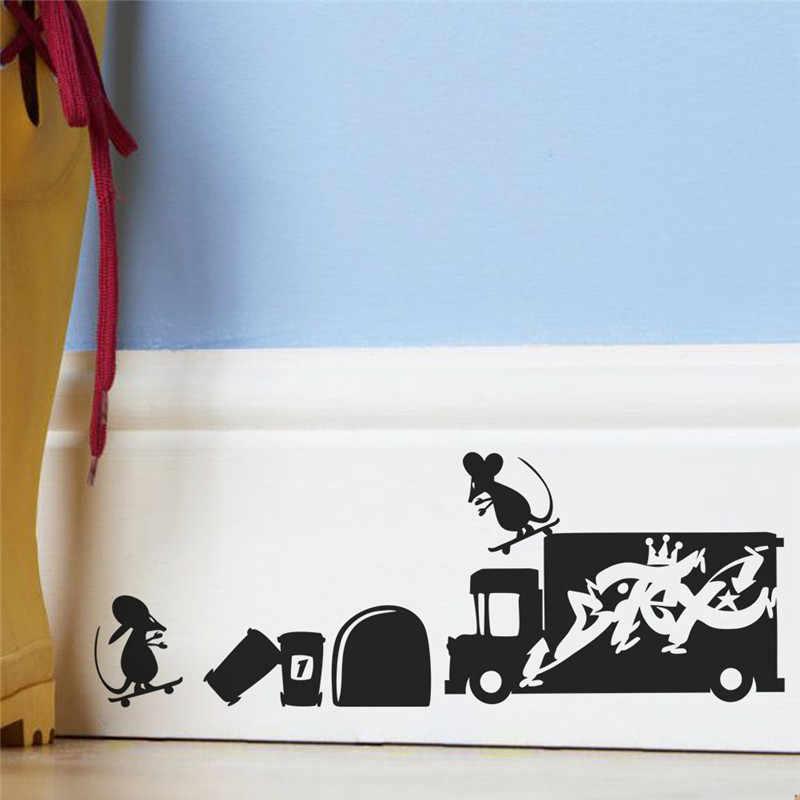 מצחיק 3d עכבר חור קיר מדבקות לילדים חדר עיצוב הבית ויניל קיר מדבקות Diy קריקטורה עכברוש בעלי החיים קיר אמנות