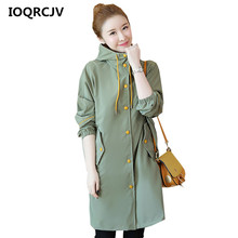 2019 Autumn Women's Casual Trench Coat Single Breasted Vintage Female Windbreake