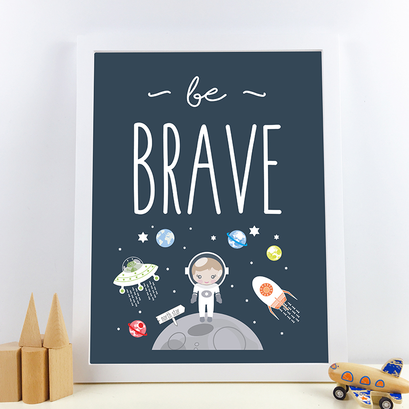 Space themed print boys room decor