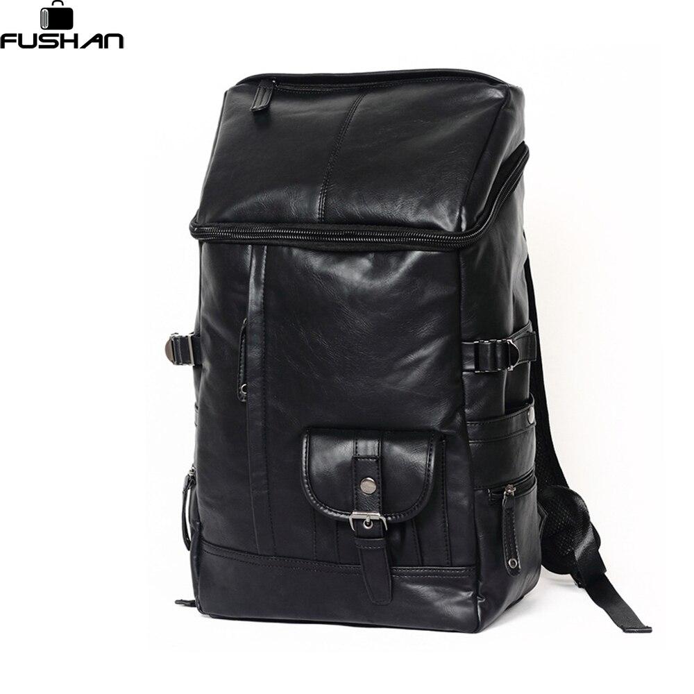 ФОТО Fashion Women's & Men Black Backpacks Leather Rucksacks Men Student School Bags For Girl Boy Casual Travel bags laptop Mochila