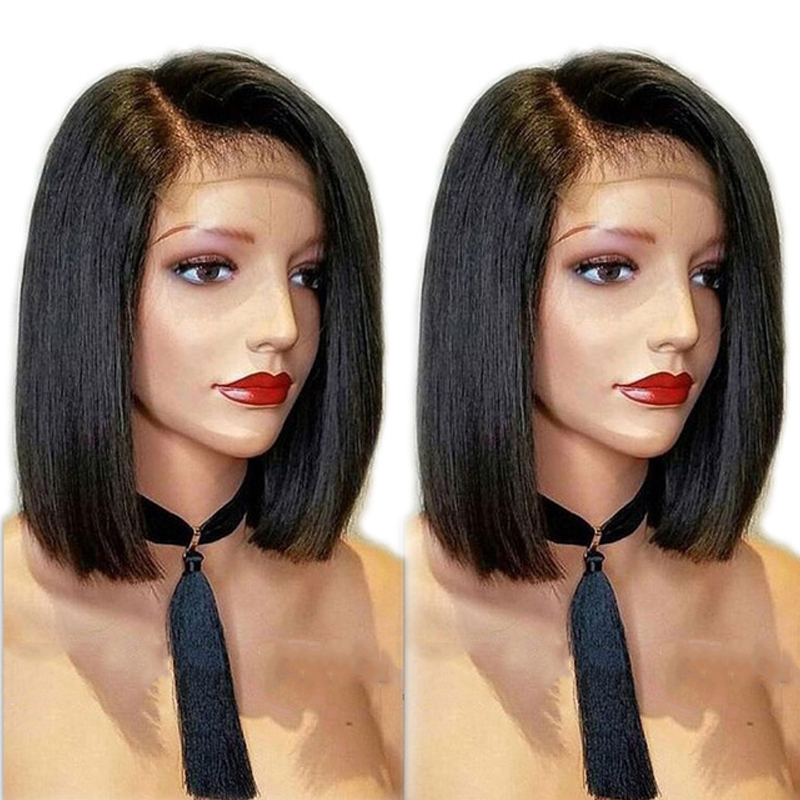 Pre Plucked Straight Bob Lace Front Human Hair Wig 13x6 Deep Part Short Remy Hair Brazilian Wig For Black Women Blunt Cut
