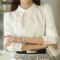 YEYELANA 2017 Nova Primavera Verão Mulheres Blusas Tops Para As Mulheres blusa de Renda Chiffon Camisa Branca de Manga Longa Blusas Femininas A008