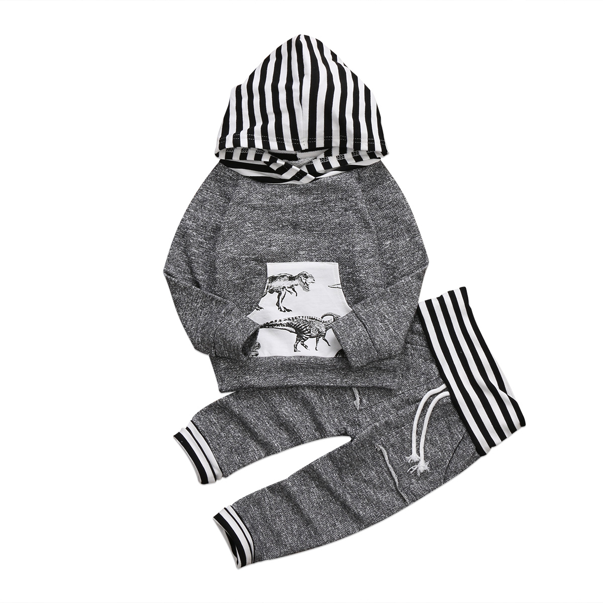 Newborn Infant Kid Baby Boy Clothes Set Dinosaur Gray Boys Clothing Autumn Hoodies Tops Long Pants Costume Cotton Outfit 2PCs newborn baby boy girl 5 pcs clothing set cotton cartoon monk tops pants bib hats infant clothes 0 3 months hight quality
