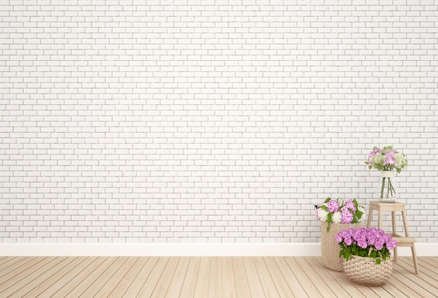 Laeacco Gray White Backgrounds Brick Wall Basket Flower Wooden Floor Child Kids Portrait Backdrops Photocall Photo Studio