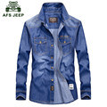 AFS JEEP 2016 European cowboy style autumn men's casual brand blue shirt spring man good quality 100% cotton long sleeve shirts